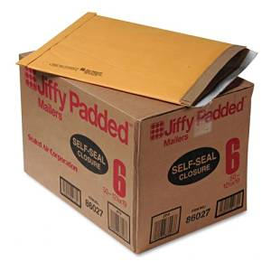 Sealed Air : Jiffy Padded Self-Seal Mailer, Side Seam, #6, 12 1/2 x 19, Golden Brown, 50/ct -:- Sold as 2 Packs of - 50 - / - Total of 100 Each
