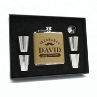 6OZ Brown Leather Stainless Steel Hip Flask Gift Set With 4pcs Shot Glass