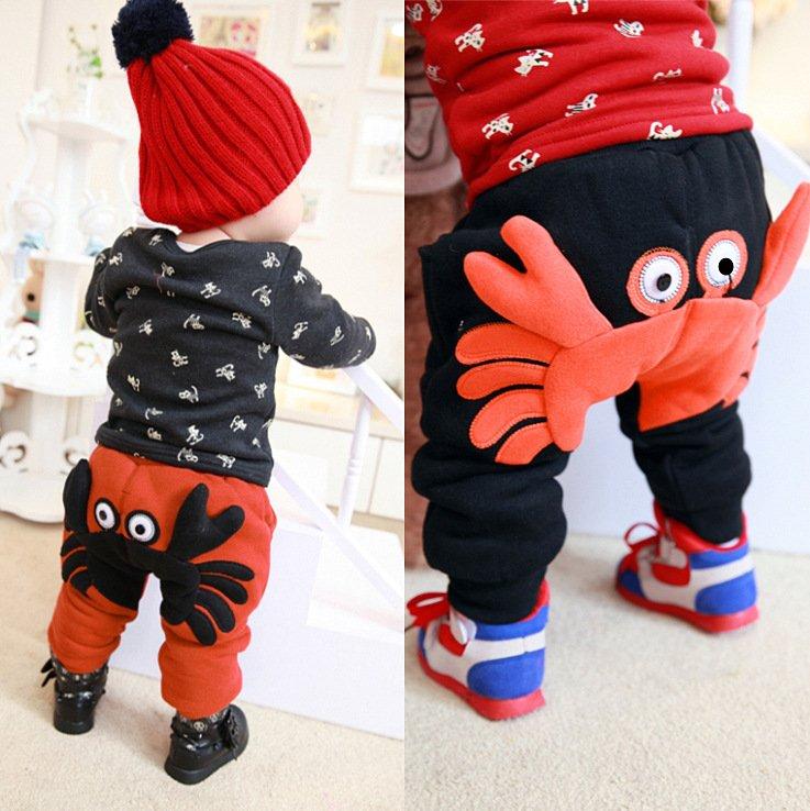 Infants and children baby warm pants thickening boy girl harem pants children s clothing plus velvet