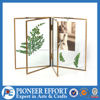 Metal hanging photo frame for picture or riker mount