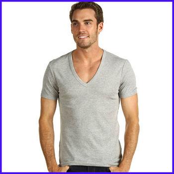 Men 39 s deep v neck t shirt wholesale scoop neck t shirt for for Deep scoop neck t shirt