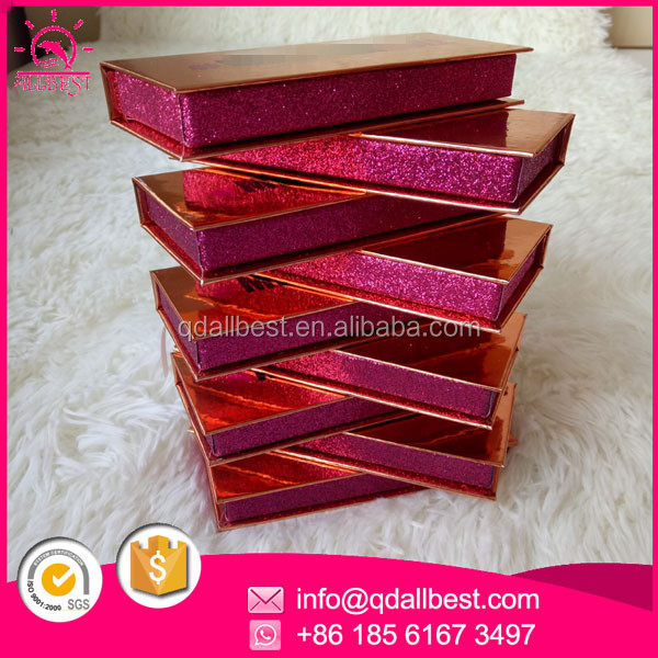 Wholesale Rose Gold Custom False Eyelash Packaging Box With <strong>Black</strong> and Pink Stamped Foil Logo
