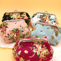 Lady Canvas Flowers Printing Floral Women Retro Small Wallet Coin Purse