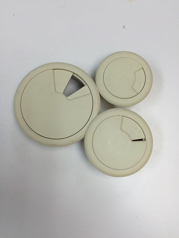 "3-Pack Round Desk Grommet Kit - Sizes 2"",2.375""& 3.125"", Plastic, Color: Beige"