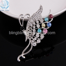 korean elegant crystal rhinestone wedding butterfly brooch clip