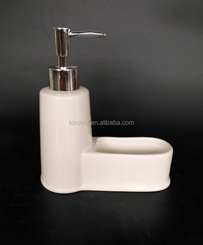 White Ceramic Liquid Soap Dispenser With Sponge Holder Whole Foam