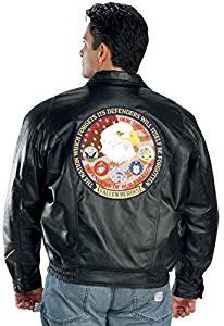USA Leather Patriotic Fallen Mens Black Leather Jacket - Large