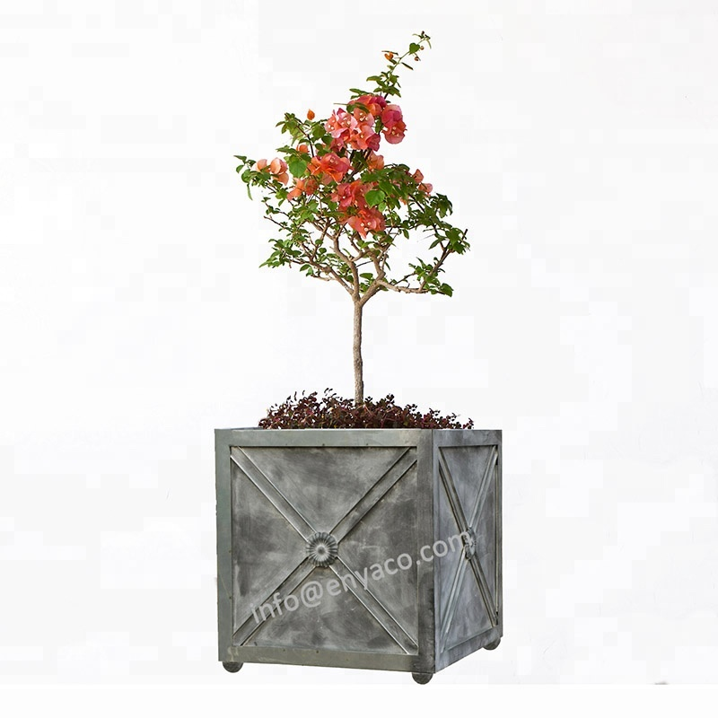 Giardino di Alimentazione Rettangolare Planter Box, Scatola di Metallo Fioriera