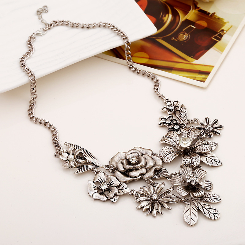 gold multicolor pendant charm necklaces women jewelry item flower chain necklace fashion chokers statement choker beads maxi collar from in metal