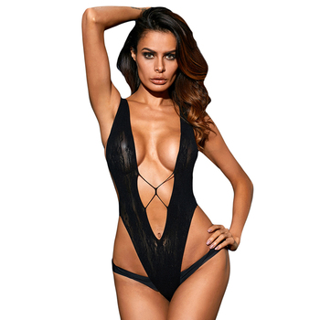 2a8f8f5b135 Hot Sale Wholesale Sexy Black Sultry V Shape Hollow Out Lace Woman Teddy  Lingerie