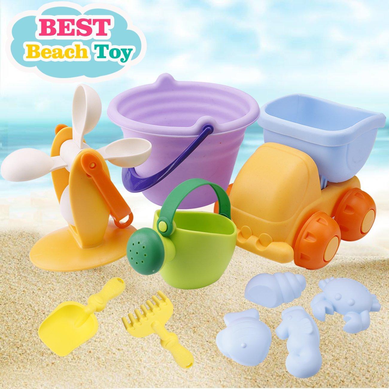 BeachToysSetforKidsToddlersBabySandToysforGirlsBoys,Soft10PiecesPoolToySetwithMeshBagTruck Bucket WateringCanWater WheeShovelsRakes,FishCrab SandMolds (10 Pieces Beach Toy)