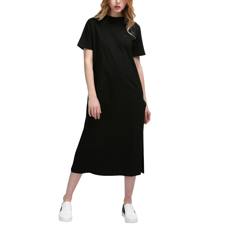 New Fashion Basic Side High Slit Long Black Clothing Women Short Sleeves Shirt Dress For Casual