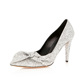 Glitter upper with butterfly decoration high heel women dress shoes wedding shoes