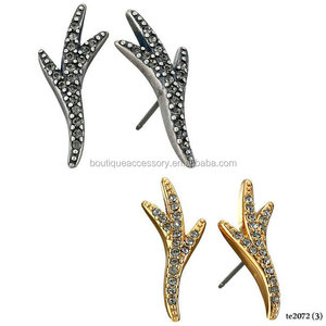 Pave Thorn Stud Post Earrings For Girls