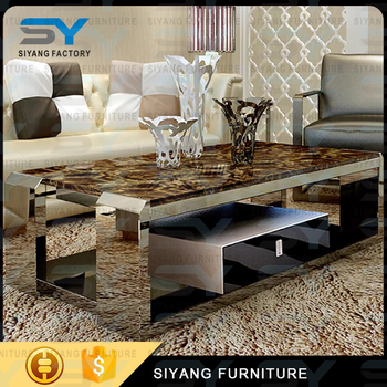 Chinese Furniture Rectangle Stainless Steel Coffee Table Marble Top