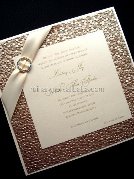 Gold Pebble Paper Wedding Invitation With Ribbon Invitations Elegant Decorating Product