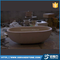 Curve natural stone bath tubs Beige Cream marble bathtub for sale
