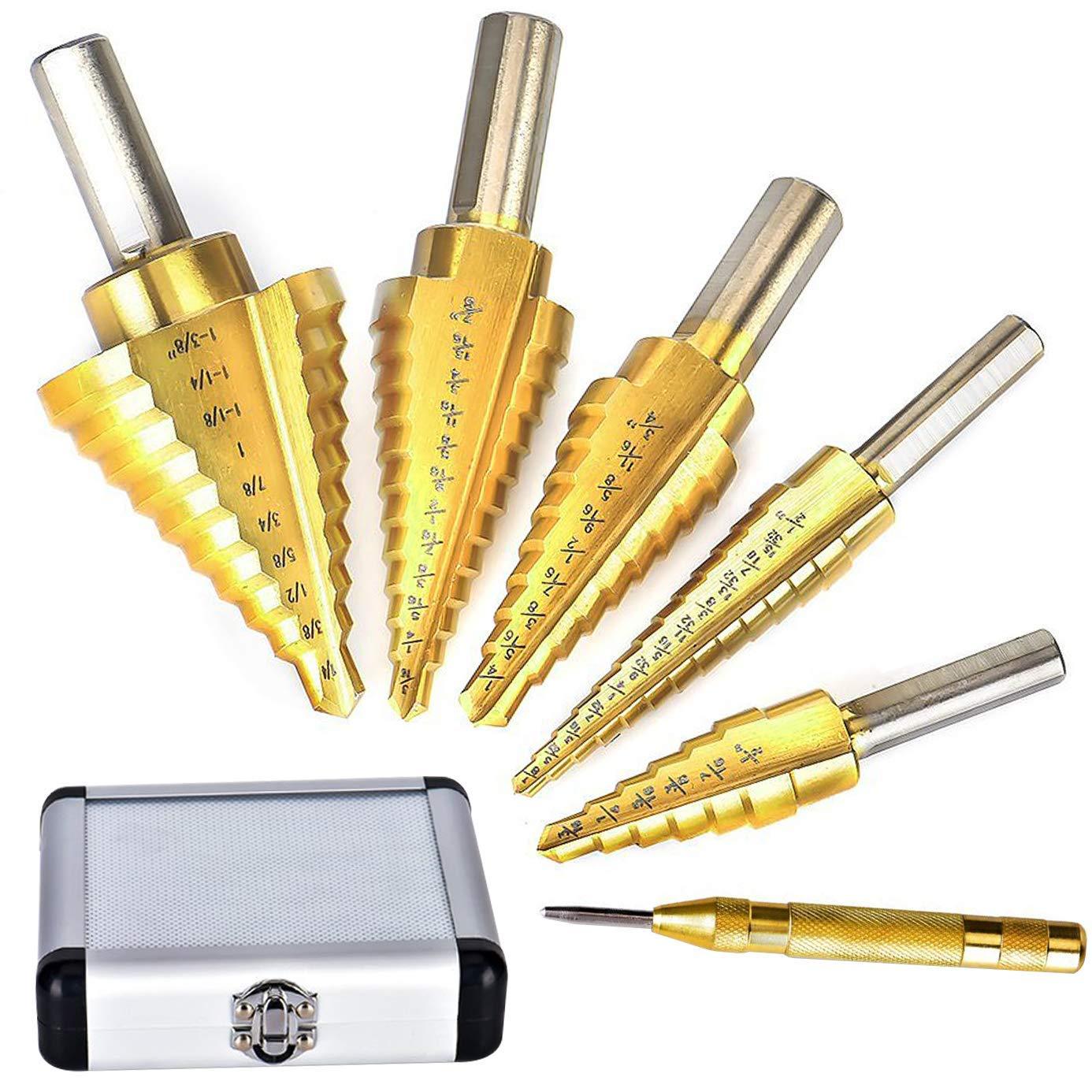 Gulakey 6 Pcs Step Steel Titanium Step Drill Bit Tool Sets Step Cone Cutt Tools Metal Drill Bit Set for Wood PVC Thin Steel