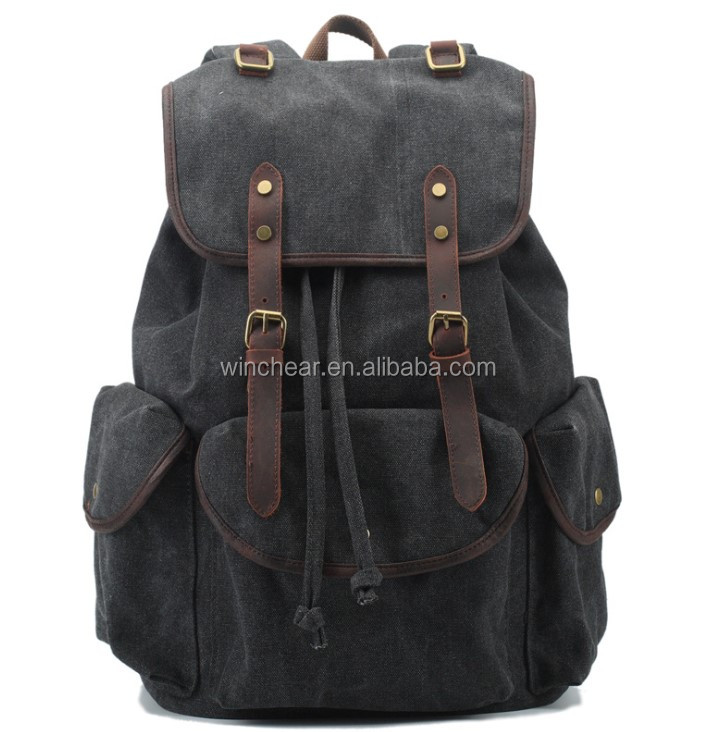 Hot selling vintage college bags new fashion unisex canvas casual backpack cheap backpacks