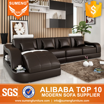 Wholesale Alibaba Italian Living Room Furniture Leather Sofa With Big Chaise