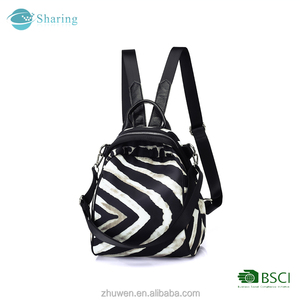 New Design Fashion Leisure Zebra Pattern School Backpack bag for daily