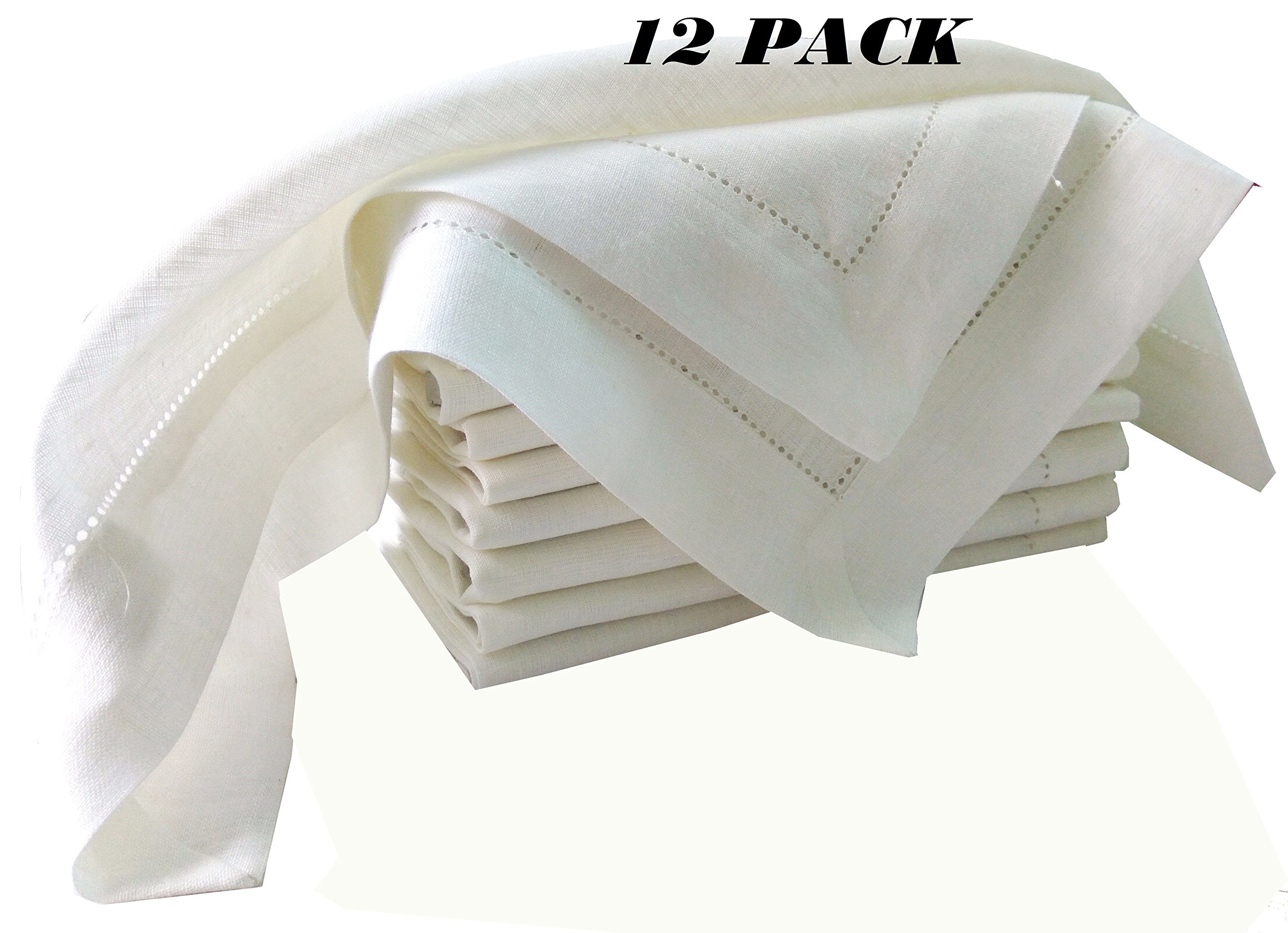 PACK of 12, 100% Pure white Linen Dinner Napkin 20x20, White color by Linen Clubs - Hemstitched hand made ladder lace look napkins. One of life's little home luxuries