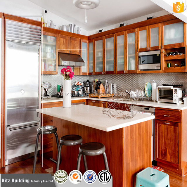 Customized Different Styles Wood Kitchen Product Solid Wood Kitchen Cabinet  Manufacturer Good Price Of Kitchens In