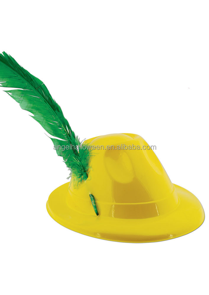 Yellow classic Oktoberfest party felt hat with feather OH6034