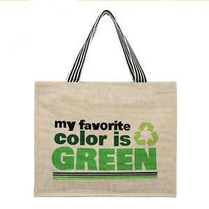 Green reusable waterproof jute shopping bag with zipper closure and handle