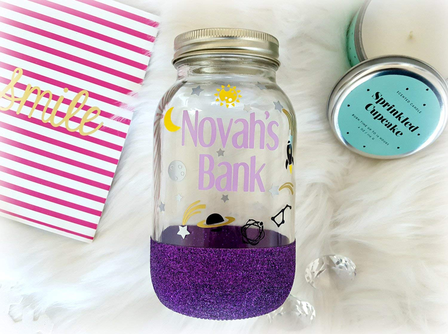 Space Bank - a fully custom glass bank, making a perfect kids bank with full customization