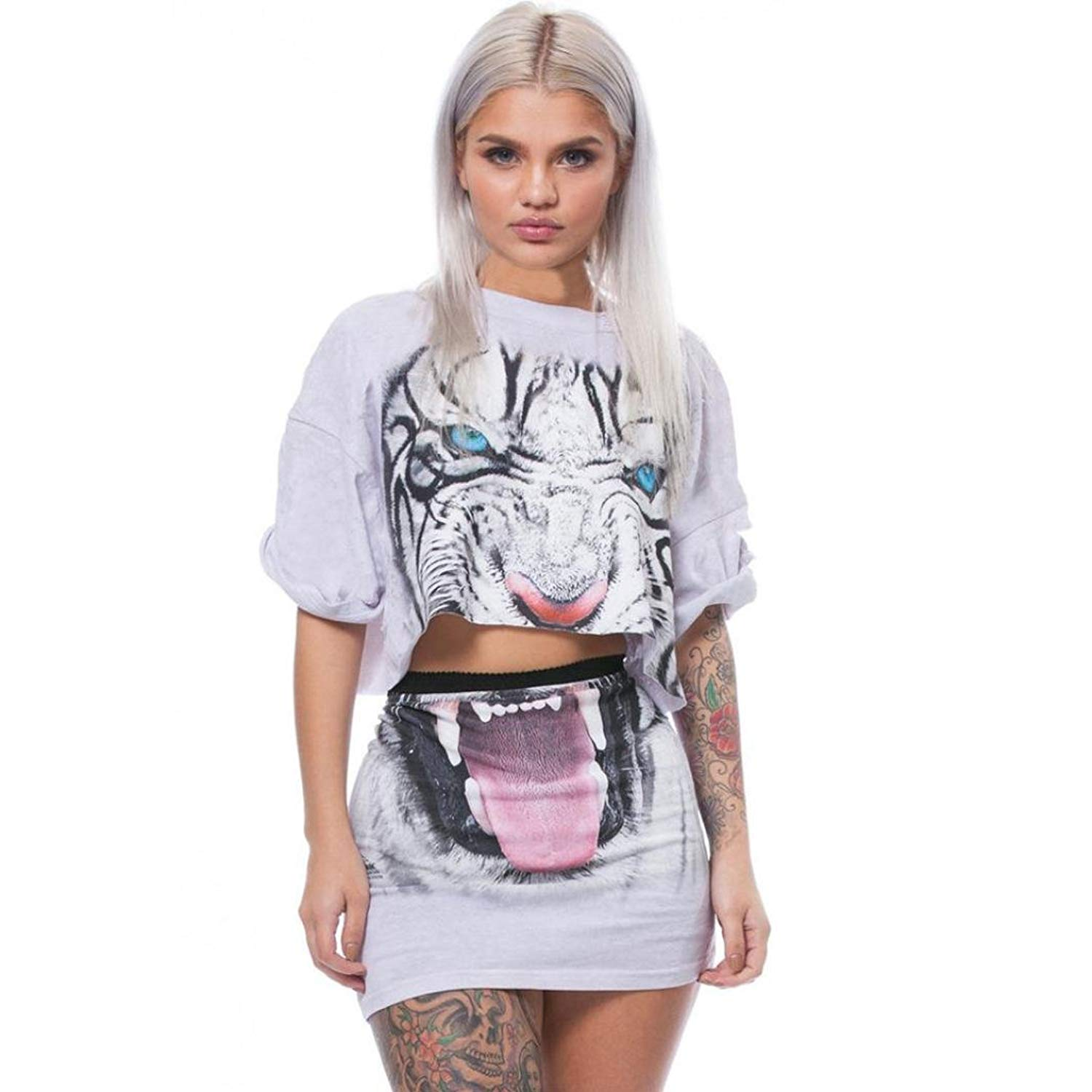 1cb733ffb10acb Get Quotations · Women Tiger Print Split 2 Piece Set Casual Skirt Casual  Outfit Sportswear