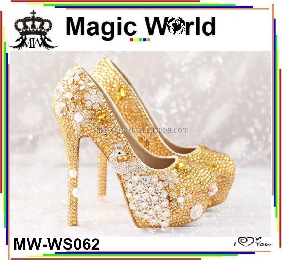 Luxury Bridal Shoes Wedding Diamond Gold Peacock 14CM wcqxtA1gtf