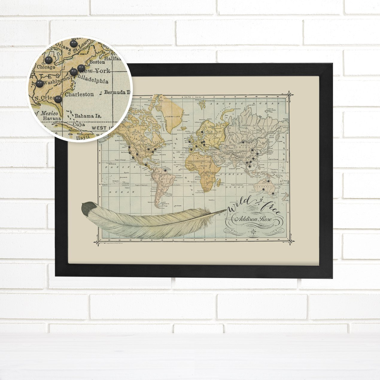 Wild and Free Customized Push Pin Travel Map Art