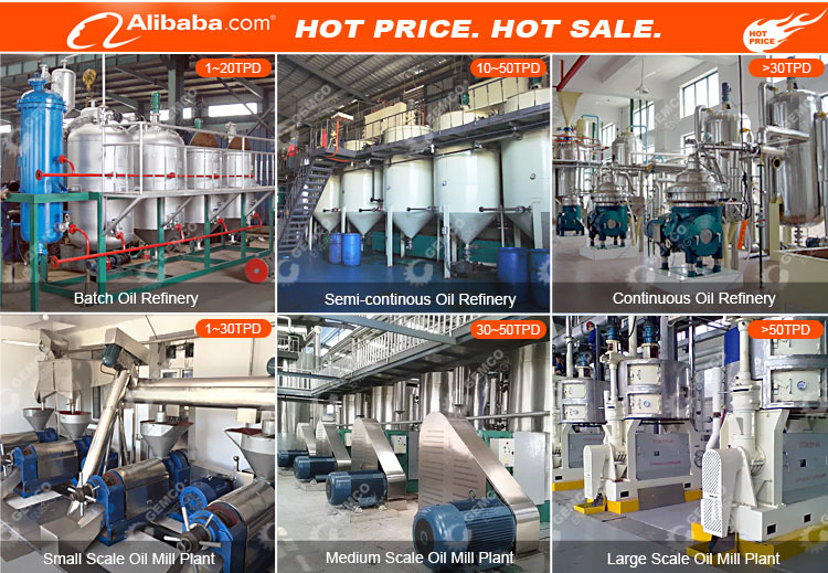 Factory price small scale mobile vegetable rapeseed cottonseed sunflower soybean palm kernel edible oil refinery