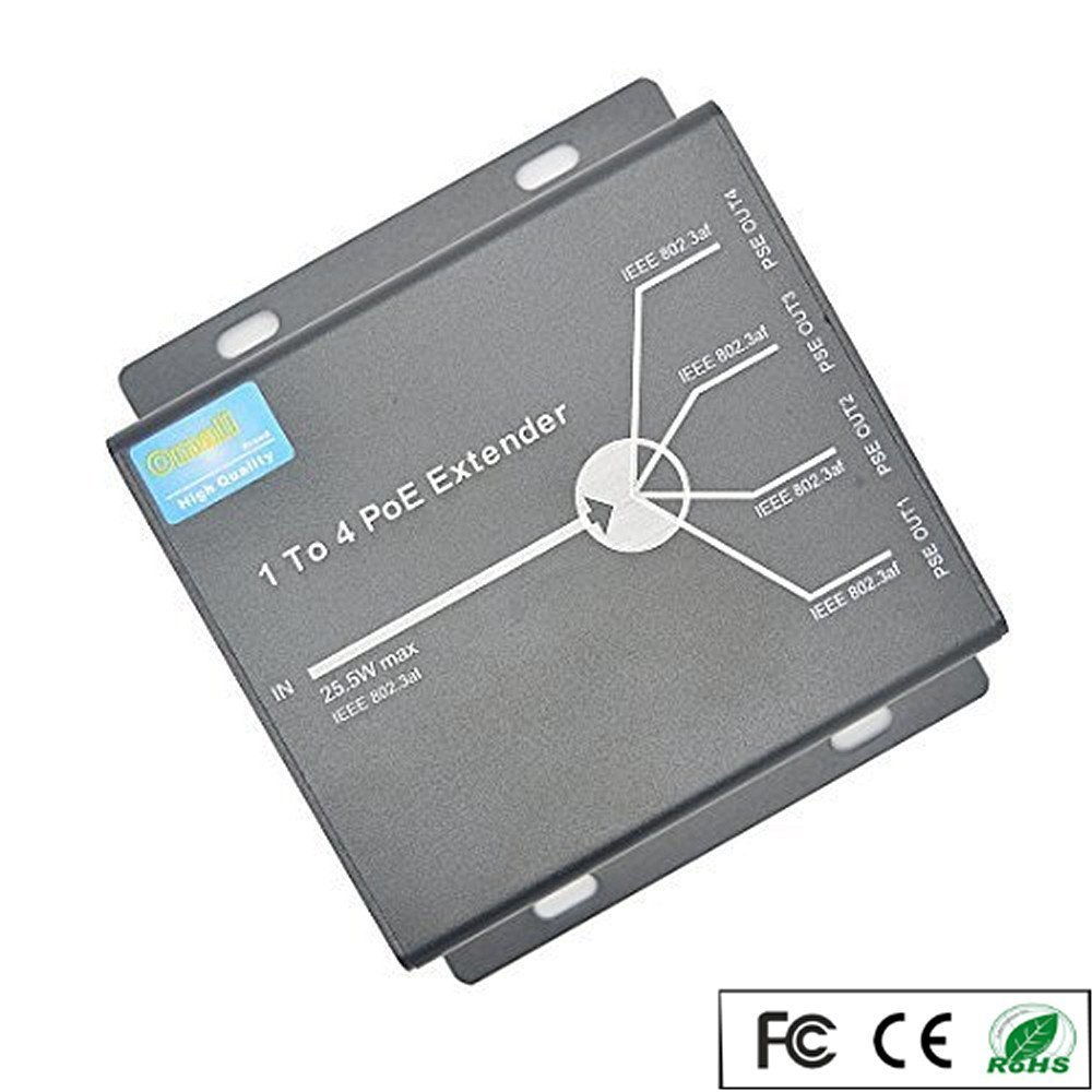 OdiySurveil(TM) 4-Port 10/100M IEEE802.3at (power-in) to IEEE802.3af (power-out) PoE Extender for Ethernet/PoE Power