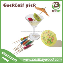 Best Sell Party Decoration Umbrella Wood Disposable Cocktail Picks