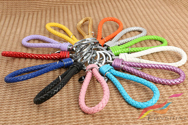 Colourful Personalized Custom Fabric Keychains Logo Bulk Leather Car Keychains