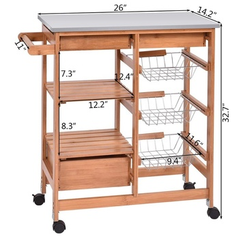 Luxury Stainless Steel Top Bamboo Kitchen Cart With Drawer Basket Towel Rack Buy Stainless Steel Wooden Kitchen Trolley Outdoor Kitchen Trolley Kitchen Trolley Kitchen Cart Product On Alibaba Com