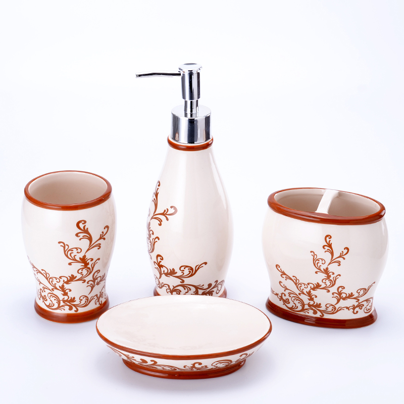 4 Piece MODERN Bathroom Accessories SET BATH Soap Dish Dispenser Tumbler CERAMIC