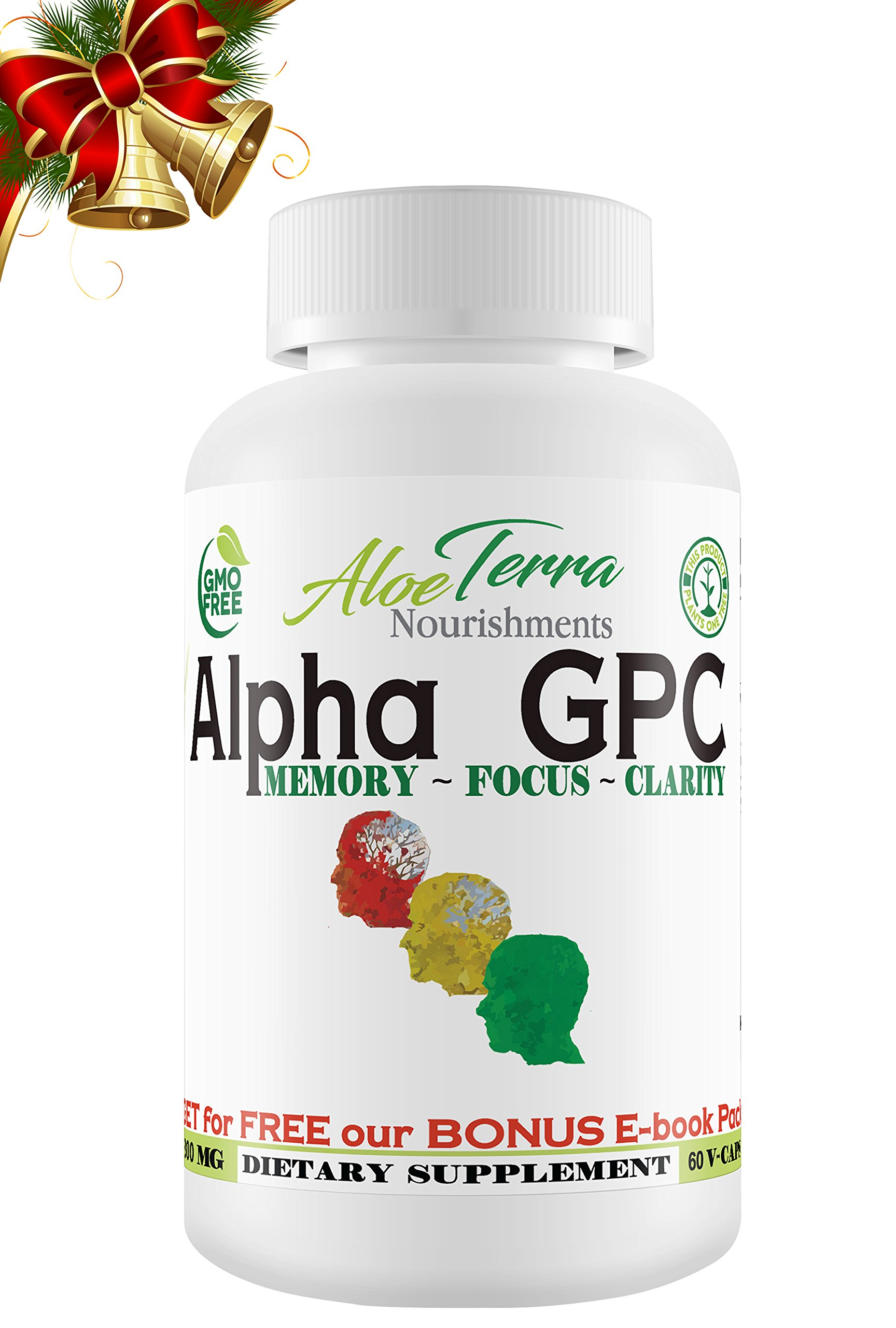 Alpha GPC Choline 100% ORGANIC | Made in USA |300mg 60 Vegan Capsules | Cognitive Enhancer Nootropic | Boosts Focus Clarity & Improves Concentration |+ 4 Develop Brain-Power E-Books + We PLANT 1 TREE