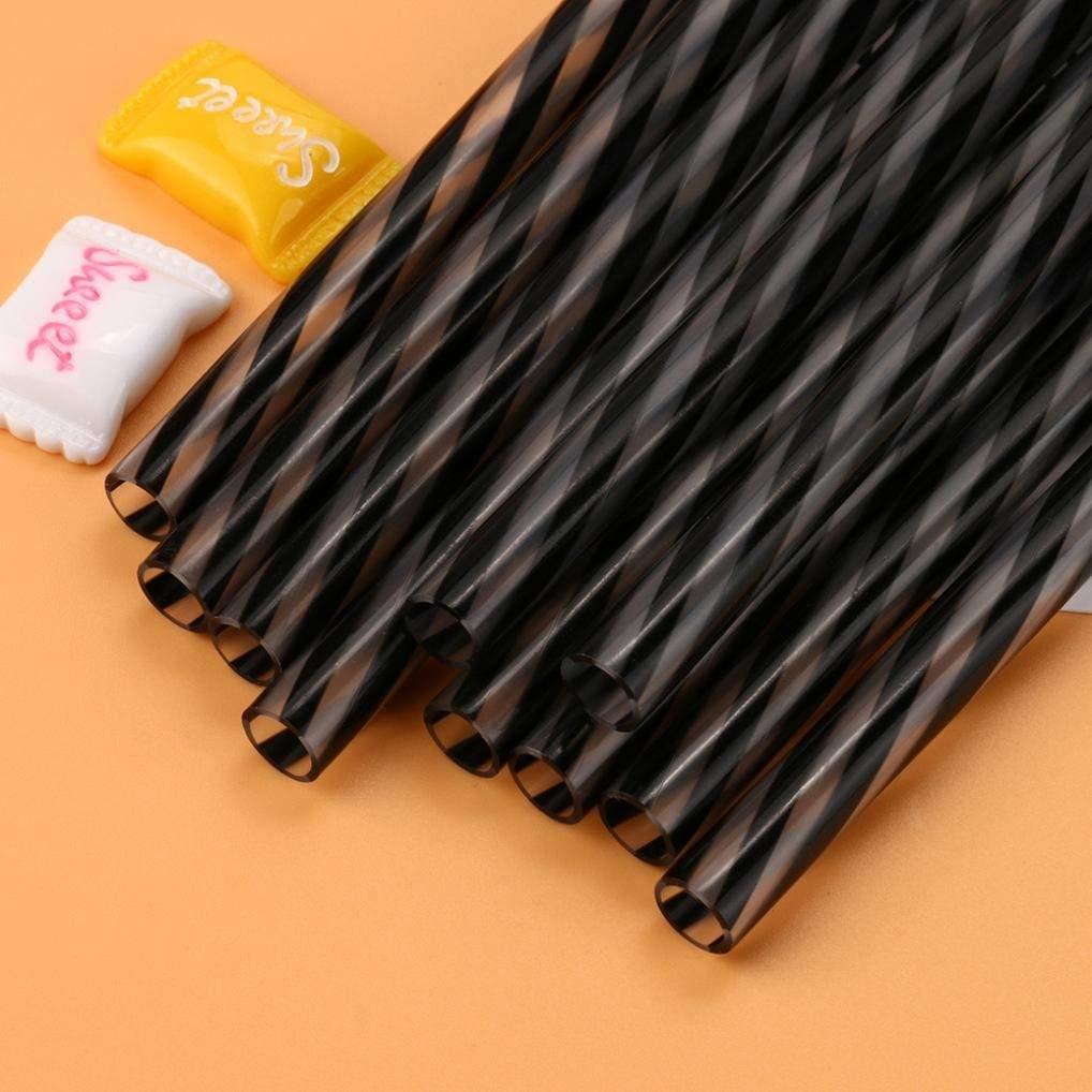 Rumas 10Pcs Sraight Drinking Straws, Clear Stripe Hard Plastic Reusable Straws Party Decoration (Black)