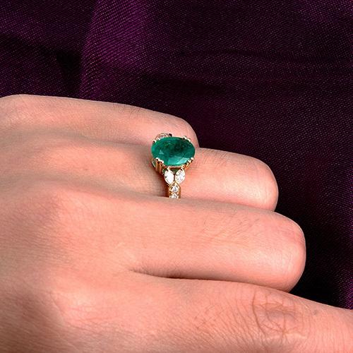 14K Yellow Gold Diamond Finger Rings Oval 7x9mm Gemstone Natural