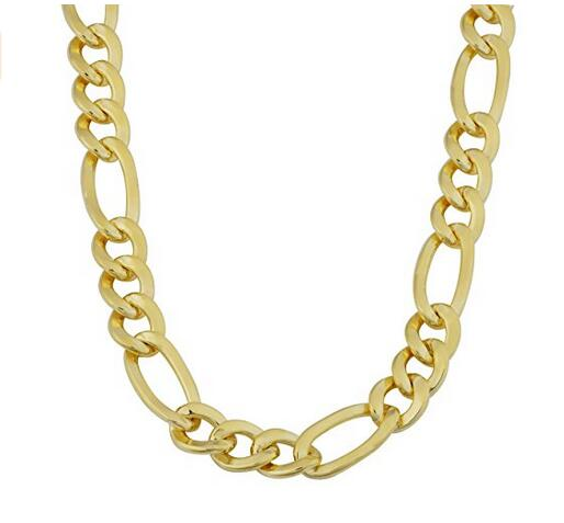 18k Yellow Gold Plated Men's Solid 7.8mm High Polish Figaro Chain Necklace (18/20/22/24 or 30 inch)