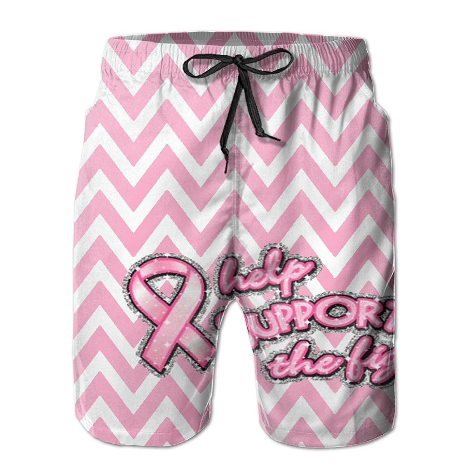 8c334fd8f726 Get Quotations · NUNOFOG Pink Ribbon Breast Cancer Men s Swim Boardshorts  Quick-Dry Surf Beach Shorts Casual Sport