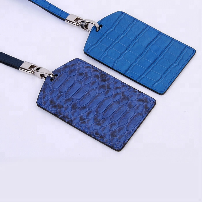 Hot sales embossed crocodile leather employee name badge ID Card Holder