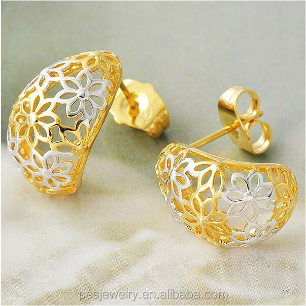 691dcd120 Two Tone Hollow Flower Gold Stud Earring (pes8-115) - Buy S925 ...