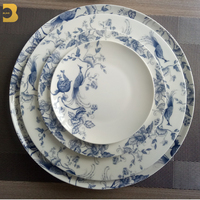 fine china china Dinnerware Sets Luxury For Restaurant white and blue peacock wedding plates