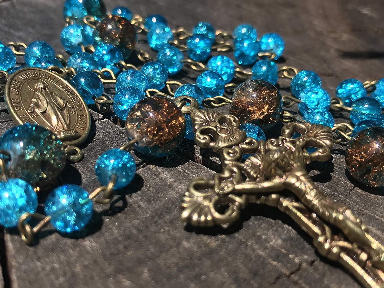 Aqua Catholic Rosary. Catholic Rosary. Aqua Rosary. Prayer Beads. Catholic Rosary Beads. Broze Catholic Rosary. Catholic Gift. Femanine Rosary Woman's Rosary. Woman's Rosary Beads. Miraculous Center.