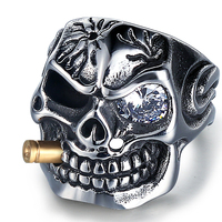 Wholesale Punk Stainless Steel Skull Ring for Men with Cubic Zircon