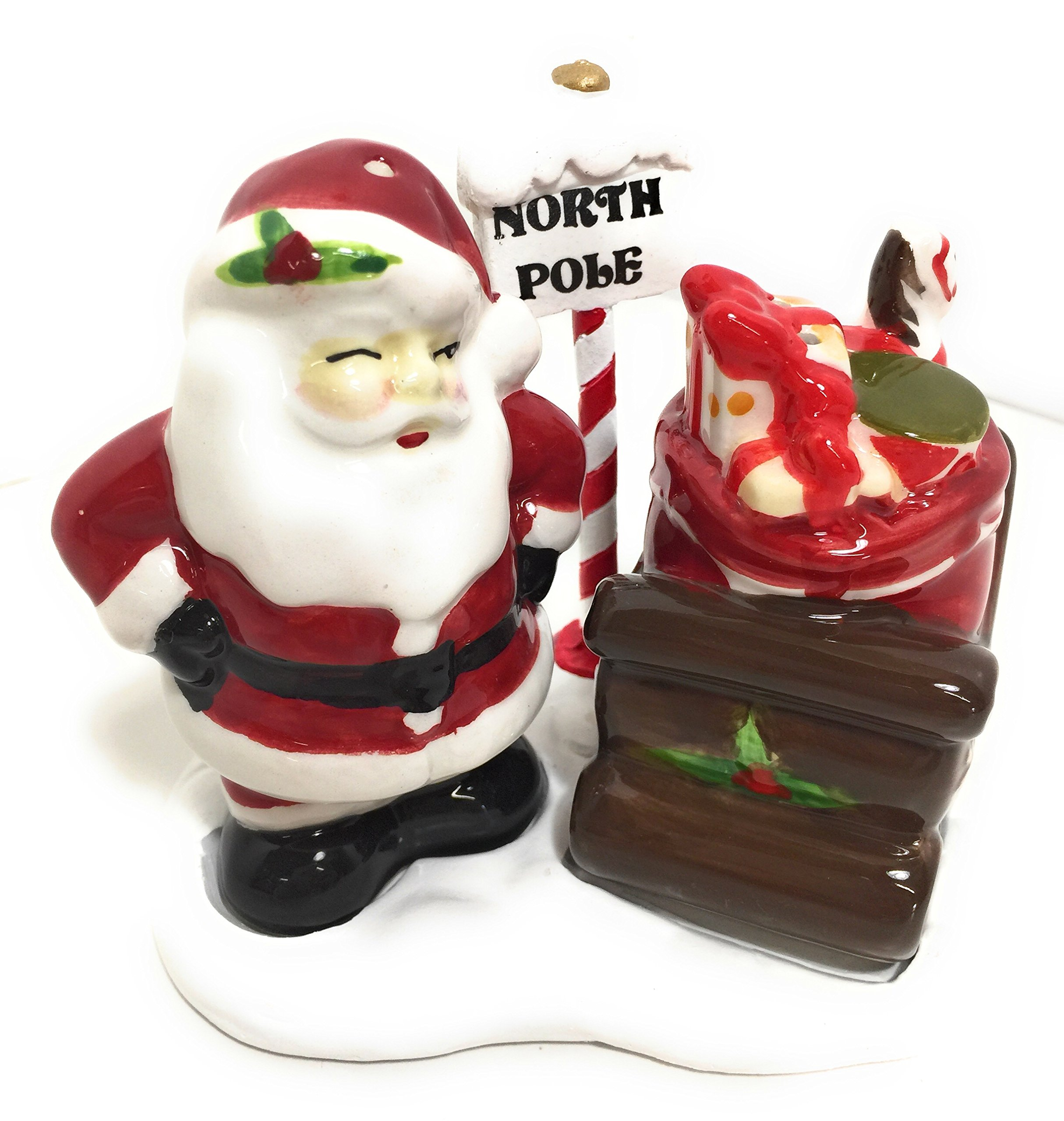 Santa & Sleigh Salt and Pepper Shaker Set Christmas Holiday Collection By Better Home & Garden